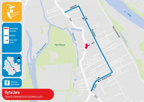 Ulice Syta i Jara objazd zamkniętego odcinka UM