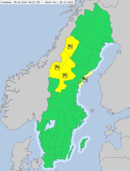 Ostrzeżenia meteorologiczne w Szwecji