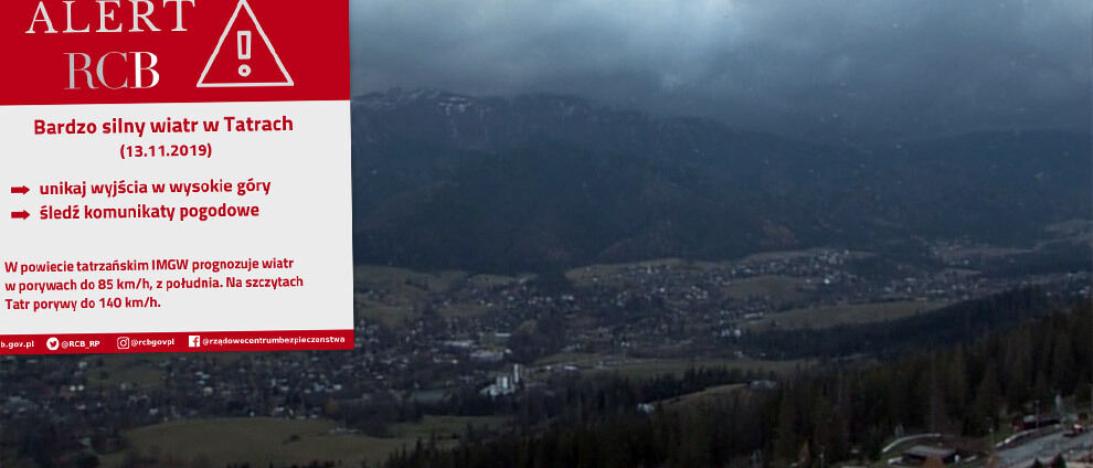 Alert RCB: unikaj wyjścia w góry. </br>Uwaga na śnieg, silny wiatr i intensywny deszcz