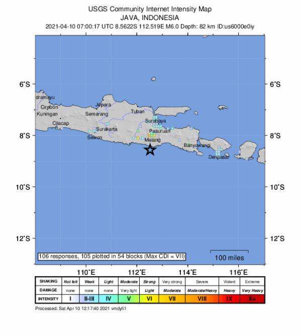Trzęsienie ziemi na wyspie Jawa (USGS)