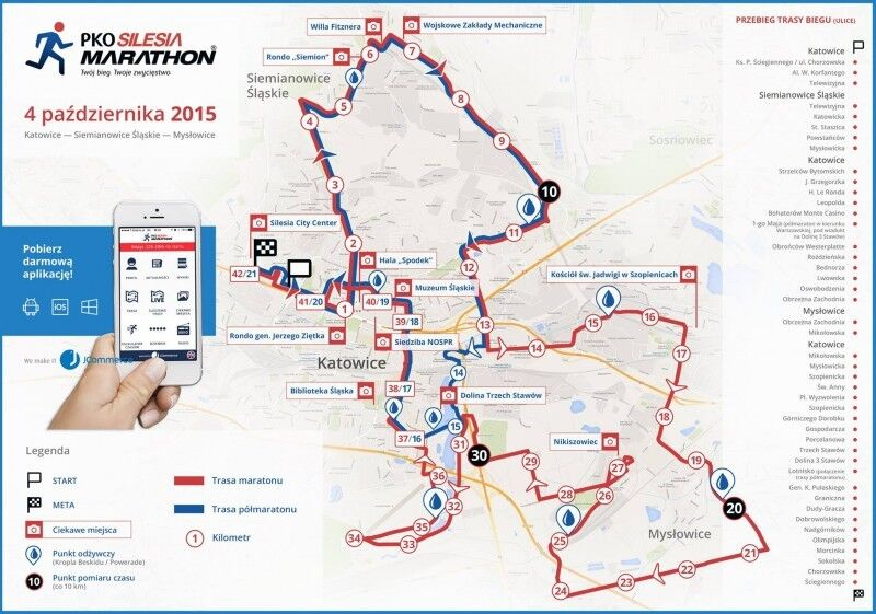 Trasa wyścigu PKO Silesia Marathon