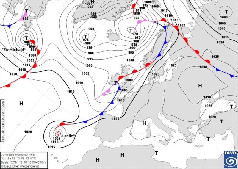 Rozkład ciśnienia nad Europą 13 października (Deutscher Wetterdienst)