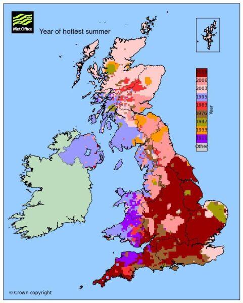 Rekordy ciepła w poszczególnych regionach Wielkiej Brytanii (MetOffice)